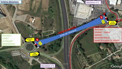 Gignac : Travaux de sécurisation de la liaison douce au-dessus de l'A750 du 22 mars au 8 juillet